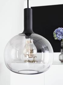 Lampada a sospensione in vetro fumé Alton, Paralume: vetro, Baldacchino: metallo rivestito, Nero, grigio trasparente, Ø 25 x Alt. 33 cm