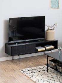 TV-Konsole Angus in Schwarz, Korpus: Mitteldichte Holzfaserpla, Füße: Metall, pulverbeschichtet, Schwarz, 140 x 45 cm