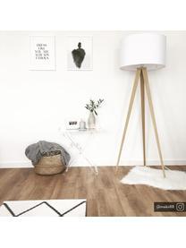 Lampa podłogowa z drewnianą podstawą Jake, Klosz: biały Podstawa lampy: fornir drewniany, Ø 50 x W 154 cm