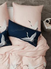 Pościel z satyny bawełnianej Yuma, Blady różowy, biały, szary, 240 x 220 cm + 2 poduszki 80 x 80 cm