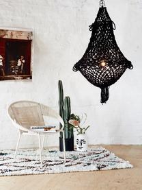 Vaso con smalto craquelé Face, Terracotta, Bianco, nero, Ø 16 x Alt. 28 cm