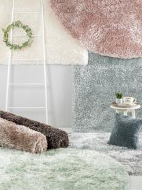 Glänzender Hochflor-Teppich Lea in Weiß, rund, Flor: 50% Polyester, 50% Polypr, Weiß, Ø 200 cm (Größe L)