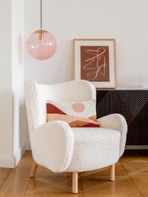 Teddy fauteuil Kalia in crèmewit, Bekleding: teddyvacht (100% polyeste, Poten: beukenhout, Frame: metaal, Teddyvacht crèmewit, 78 x 80 cm