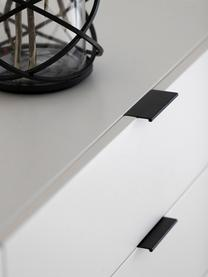 Komoda z szufladami Kobe, Korpus i front: biały, półmatowy<br> Nogi i uchwyty: czarny, S 180 x W 80 cm