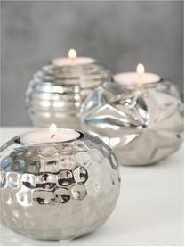 Teelichthalter-Set Gaya, 3-tlg., Steingut, Silberfarben, Ø 9 cm