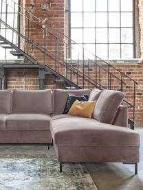 Sofa narożna z aksamitu z funkcją spania Lilly, Tapicerka: 100% aksamit poliestrowy, Ciemny beżowy, S 237 x G 197 cm