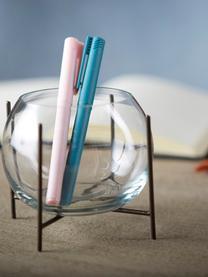 Kleine bollen vaas Ada met metalen frame, Frame: gecoat metaal, Vaas: glas, Messingkleurig, transparant, Ø 8 x H 11 cm