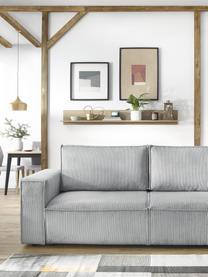 Sofa rozkładana ze sztruksu z miejscem do przechowywania Nihad (3-osobowa), Tapicerka: sztruks poliestrowy, Nogi: tworzywo sztuczne, Jasny szary, S 245 x G 102 cm