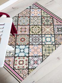 Vlakke vinyl vloermat Aylin met kleurrijke print, antislip, Recyclebaar vinyl, Multicolour, 65 x 85 cm