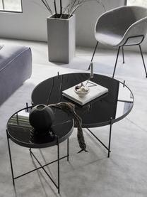 Tablett-Tisch Cupid mit Glasplatte, Gestell: Metall pulverbeschichtet, Tischplatte: Glasplatte mit Folie in M, Schwarz, Ø 43 x H 45 cm