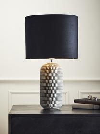 Sametová stolní lampa Svensson, Černá, šedá