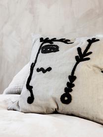 Housse de coussin avec broderie à motif abstrait Ingo, Blanc, noir