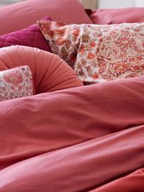 Fluwelen kussen met patroon Giulia met bies, met vulling, Roodtinten, roze, 30 x 50 cm