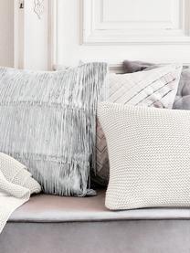 Federa arredo fatta a maglia bianca Adalyn, 100% cotone, Bianco naturale, Larg. 50 x Lung. 50 cm