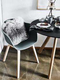 Kunststoff-Armlehnstuhl Claire mit Holzbeinen, Sitzschale: Kunststoff, Beine: Buchenholz, Kunststoff Grün, B 60 x T 54 cm
