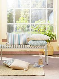 Gestreifte Outdoor-Kissenhülle Marbella, 100% Dralon® Polyacryl, Blau, Weiß, Beige, Grau, 40 x 40 cm