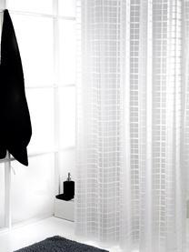 Rideau de douche court à carreaux, translucide Porto, Blanc, gris