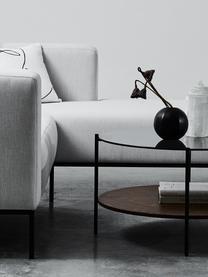 Hoekbank Carrie in grijs met metalen poten, Bekleding: polyester, Frame: spaanplaat, hardboard, mu, Poten: gelakt metaal, Geweven stof grijs, B 241 x D 200 cm