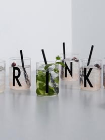 Szklanka do wody Personal (warianty od A do Z), Szkło borokrzemowe, Transparentny, czarny, Szklanka do wody A