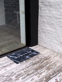 Wasbare polyamide deurmat Bailey, Bovenzijde: polyamide, Onderzijde: kunststof, Zwart, 50 x 75 cm