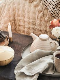 Tetera artesanal Copenhagen, Gres, Marfil con rayas finas en beige claro, 1 L