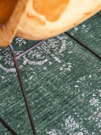 Tapis vintage chenille Medaillon, Vert foncé, beige