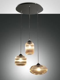 Suspension 3 lampes Dali, Beige, noir