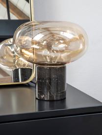 Kleine Nachttischlampe Alma mit Marmorfuß, Lampenfuß: Marmor, Lampenschirm: Glas, Lampenfuß: Brauner MarmorLampenschirm: Bernsteinfarben, transparent, Ø 23 x H 24 cm