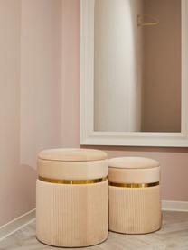 Samt-Hocker-Set Chest mit Stauraum, 2-tlg., Bezug: Polyester (Samt), Cremefarben, Sondergrößen