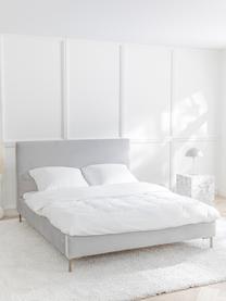 Łóżko tapicerowane Peace, Korpus: lite drewno sosnowe i pły, Tapicerka: poliester (tkanina strukt, Nogi: metal malowany proszkowo, Jasny szary, S 200 x D 200 cm