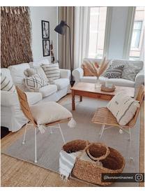 Polyrattan-Stühle Costa, 2 Stück, Sitzfläche: Polyethylen-Geflecht, Gestell: Metall, pulverbeschichtet, Hellbraun, Beine Weiß, B 47 x T 61 cm