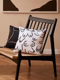 Kissenhülle Boobs mit gezeichnetem Print, 100% Baumwolle, Weiß, Schwarz, 40 x 40 cm