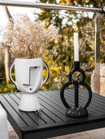 Große Design-Vase Face aus Steingut, Steingut, Weiß, Schwarz, 23 x 30 cm