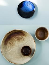 Handgemachte Schalen Yunomi im japanischen Style, 4 Stück, Porzellan, Grün, Grau, Ø 22 x H 5 cm