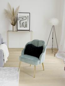 Fluwelen fauteuil Helle in turquoise, Bekleding: fluweel (polyester), Poten: gepoedercoat metaal, Fluweel turquoise, B 65 x D 65 cm