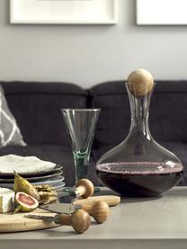 Decanter in vetro soffiato con tappo in legno Eden, Vetro soffiato, legno di quercia, Trasparente, legno di quercia, Alt. 27