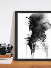 Gerahmter Digitaldruck Woman Face, Bild: Digitaldruck auf Papier, , Rahmen: Holz, lackiert, Front: Plexiglas, Schwarz, Weiß, 33 x 43 cm