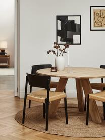 Holzstühle Danny mit Rattan-Sitzfläche, 2 Stück, Gestell: Massives Buchenholz, Sitzfläche: Papierrattan, Rückenlehne: Schichtholz mit Eschenfur, Schwarz, B 52 x T 51 cm