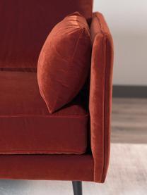 Divano 3 posti in velluto rosso ruggine Paola, Rivestimento: velluto (poliestere) 70.0, Struttura: legno di abete rosso mass, Piedini: legno di abete rosso, dip, Rosso ruggine, Larg. 209 x Prof. 95 cm