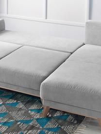 Canapé d'angle convertible tissu gris clair Balio (4 places), Gris clair, bois