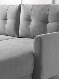 Lichtgrijze hoekbank Balio (4-zits) met slaapfunctie, Bekleding: 100% polyester, Frame: massief grenenhout, spaan, Poten: hout, Lichtgrijs, naturel, B 234 cm x D 164 cm (hoekdeel rechts)