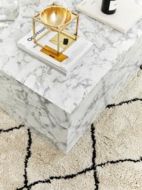 Pluizig hoogpolig vloerkleed Naima met franjes, handgetuft, Bovenzijde: polyester, Onderzijde: katoen, Beige, zwart, B 200 x L 300 cm (maat L)