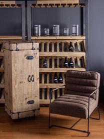 Fotel ze sztucznej skóry Brianna, Tapicerka: sztuczna skóra, Nogi: metal epoksydowany, Brązowy, S 63 x G 74 cm