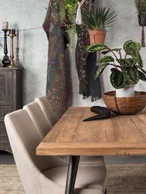 Eettafel Kapal met massief houten tafelblad, Tafelblad: 4 cm sterk, gerecycled ma, Poten: staal met metalen gebruik, Teakhoutkleurig, zwart, B 160 x D 80 cm