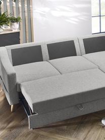 Sofa narożna z funkcją spania i miejscem do przechowywania Sweden, Tapicerka: poliester, Nogi: drewno naturalne, Jasny szary, S 224 x G 149 cm