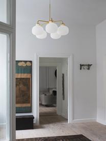 Lampada a sospensione in vetro Raito, Paralume: vetro opale, Decorazione: metallo, Baldacchino: materiale sintetico, Bianco opalino, ottone, Ø 67 x Alt. 55 cm