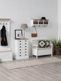 Sitzbank Emma mit Stauraum, Bezug: Polyester, Gestell: Mitteldichte Holzfaserpla, Weiß, 90 x 85 cm