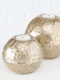 Waxinelichthoudersset Fusine, 2-delig, Gecoat aluminium, Goudkleurig, Set met verschillende formaten