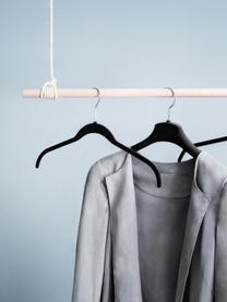 Kleiderbügel Black Velvet, 12 Stück, Haken: Metall, Bezug: Nylonbeflockung, Schwarz, 42 x 25 cm