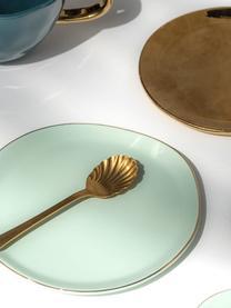 Kuchenteller Good Morning in Mint mit Goldrand, Porzellan, Mint, Goldfarben, Ø 17 cm